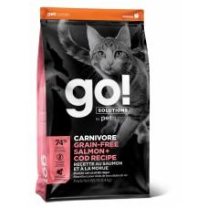Корм GO! беззерновой корм для котят и кошек, с лососем и треской, GO! CARNIVORE GF Salmon + Cod