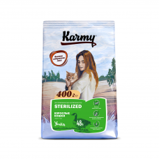 Karmy Sterilized Утка - корм для стерилизованных кошек и кастрированных котов