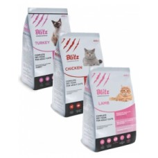 Набор корм для кошек BLITZ ADULT CAT (TURKEY, CHICKEN, LAMB) 3шт*400гр / АКЦИЯ!