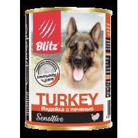 Консервы Blitz для собак «Индейка с печенью»