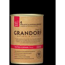 Консервы GRANDORF для собак всех пород с телятиной и кроликом