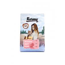 Karmy Delicious Индейка - сухой корм для взрослых кошек старше 1 года, привередливых в питании