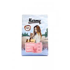 Karmy Delicious Курица - сухой корм для взрослых кошек старше 1 года, привередливых в питании