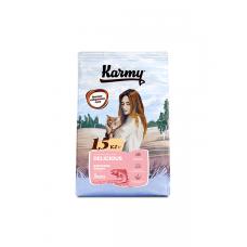 Karmy Delicious Лосось - сухой корм для взрослых кошек старше 1 года, привередливых в питании